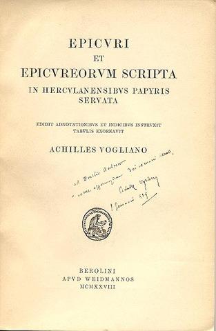 Epicuri et Epicureorum scripta in Herculanensibus papyris servata