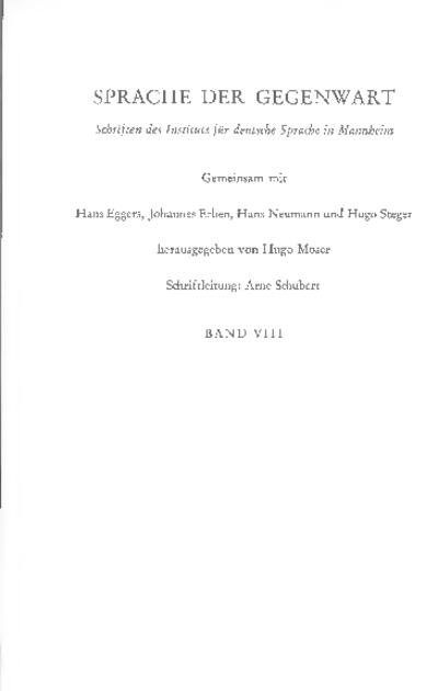 Probleme der kontrastiven Grammatik : Jahrbuch 1969 des Instituts für deutsche Sprache