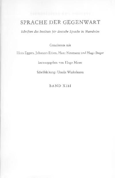 Sprache und Gesellschaft : Beiträge zur soziolinguistischen Beschreibung der deutschen Gegenwartssprache : Jahrbuch 1970