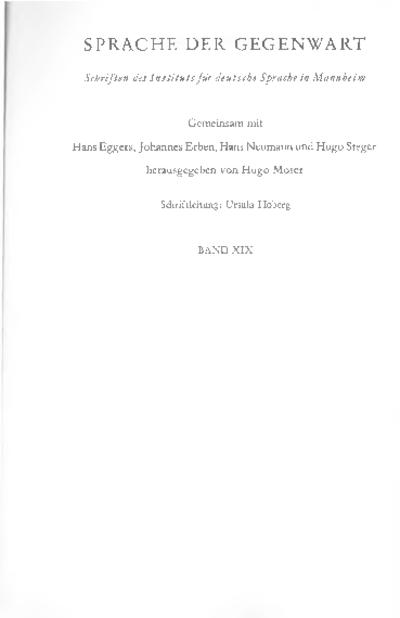 Linguistische Studien I