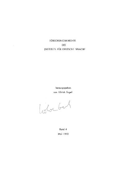 Forschungsberichte des Instituts für Deutsche Sprache