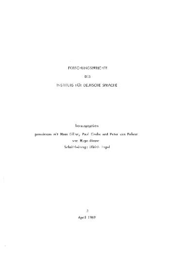 Bemerkungen zum Problem der Textklassifikation / Peter Kern; Das Mannheimer Corpus / Ulrich Engel; Forschungsberichte des Instituts für deutsche Sprache (1969); Teilerhebungen und ihre Anwendungen auf die Sprachbearbeitung...