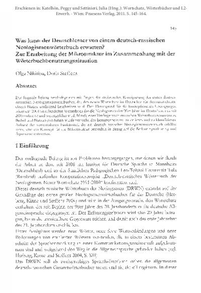 Was kann der Deutschlerner von einem deutsch-russischen Neologismenwörterbuch erwarten? Zur Erarbeitung der Mikrostruktur im Zusammenhang mit der Wörterbuchbenutzungssituation