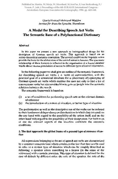 A model for describing speech act verbs. The semantic base of a polyfunctional dictionary