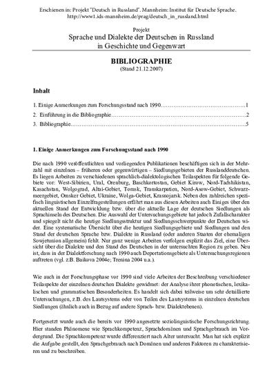 Bibliographie. Sprache und Dialekte der Deutschen in Russland in Geschichte und Gegenwart