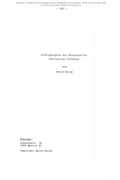 Bibliographie zur Koordination