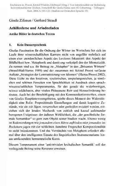 Achillesferse und Ariadnefaden. Antike Bilder in deutschen Texten