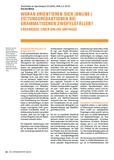 Image from object titled Woran orientieren sich (Online-) Zeitungsredaktionen bei grammatischen Zweifelsfällen? Ergebnisse einer Online-Umfrage