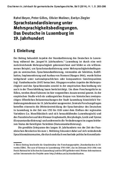 Sprachstandardisierung unter Mehrsprachigkeitsbedingungen. Das Deutsche in Luxemburg im 19. Jahrhundert