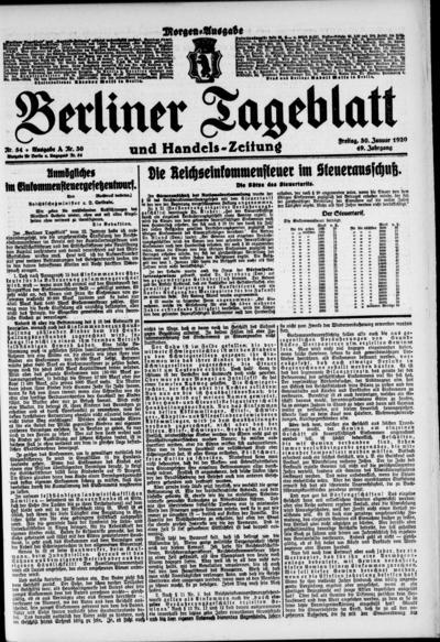 Image from object titled Berliner Tageblatt - 1920-01-30