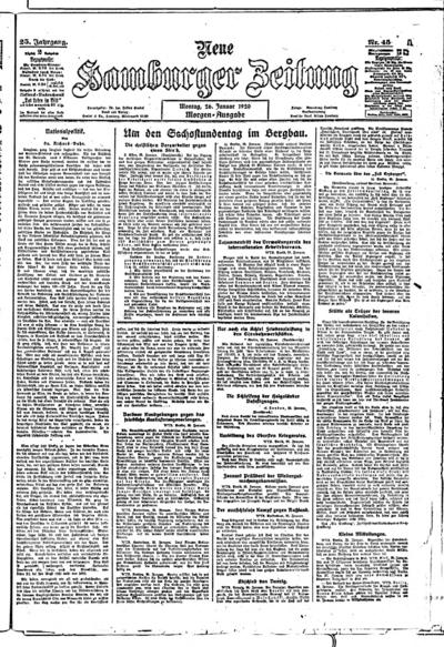 Image from object titled Neue Hamburger Zeitung - 1920-01-26