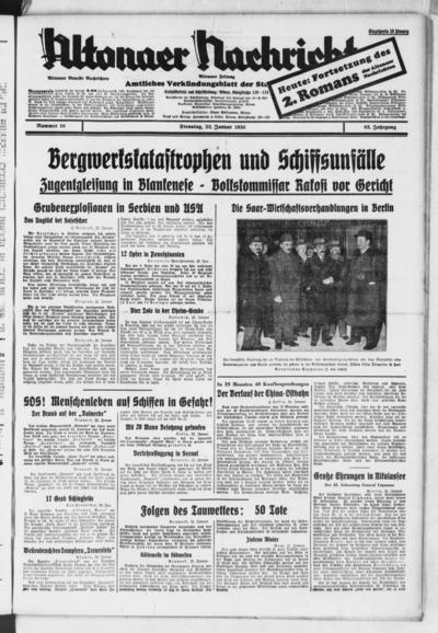 Image from object titled Altonaer Nachrichten / Hamburger neueste Zeitung - 1935-01-22