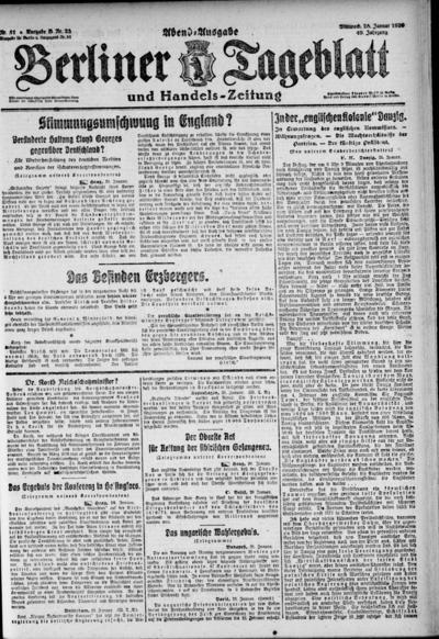 Image from object titled Berliner Tageblatt - 1920-01-28