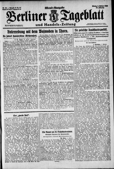Image from object titled Berliner Tageblatt - 1920-02-02