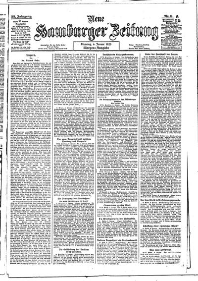 Image from object titled Neue Hamburger Zeitung - 1920-01-06
