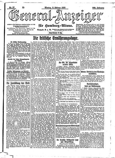 Image from object titled Hamburger Anzeiger - 1920-02-02