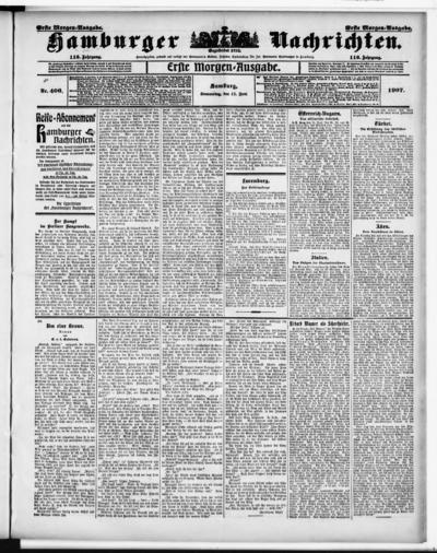 Image from object titled Hamburger Nachrichten - 1907-06-13