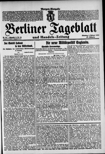 Image from object titled Berliner Tageblatt - 1920-02-03