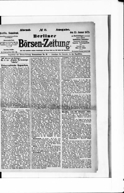 Berliner Börsenzeitung - 1873-01-25