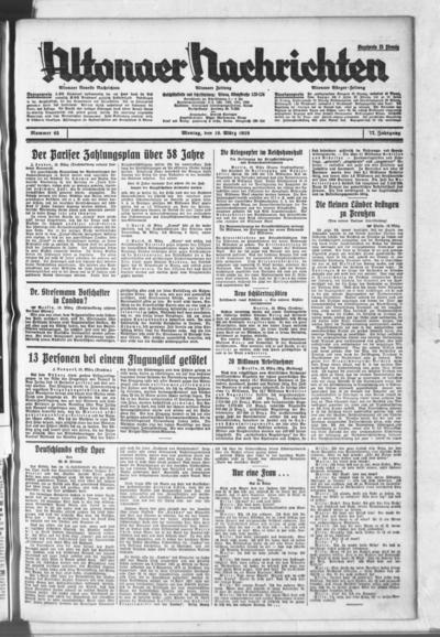 Image from object titled Altonaer Nachrichten / Hamburger neueste Zeitung - 1929-03-18