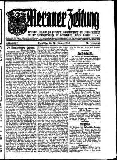 Image from object titled Meraner Zeitung - 1920-01-20