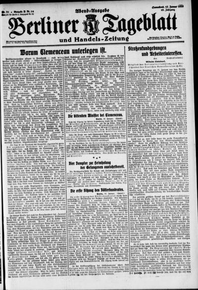 Image from object titled Berliner Tageblatt - 1920-01-17