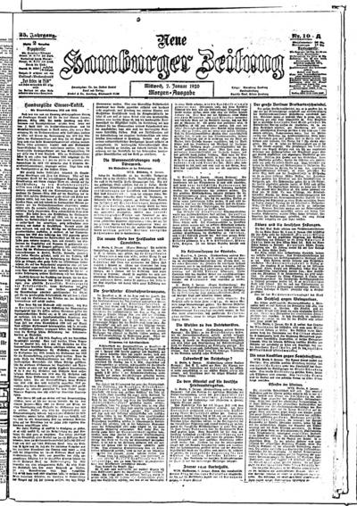 Image from object titled Neue Hamburger Zeitung - 1920-01-07