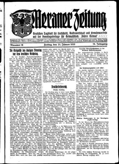Image from object titled Meraner Zeitung - 1920-01-23