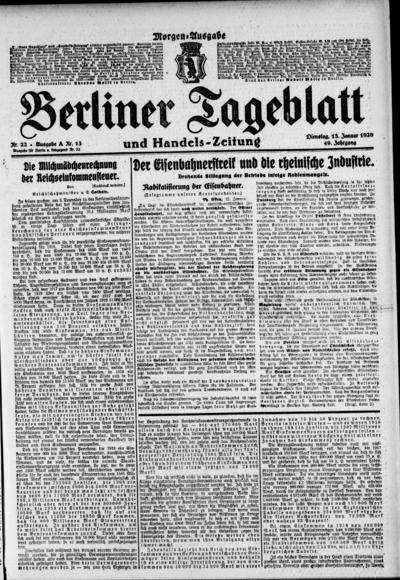 Image from object titled Berliner Tageblatt - 1920-01-13