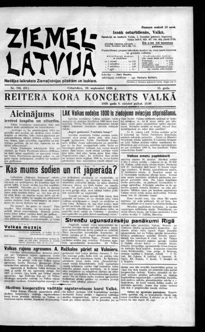Ziemeļlatvija - 1939-09-28