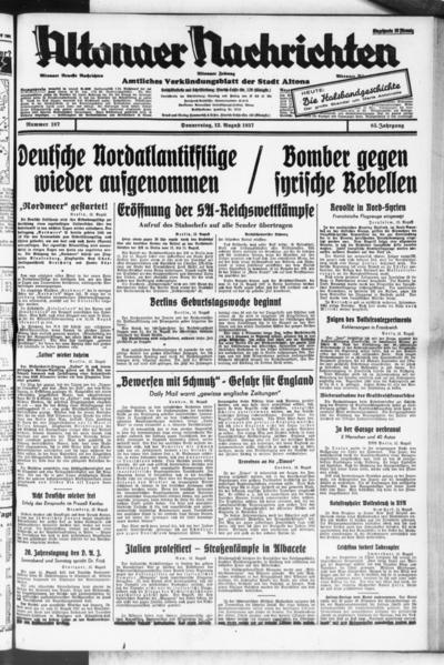 Image from object titled Altonaer Nachrichten / Hamburger neueste Zeitung - 1937-08-12