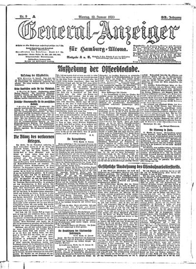 Image from object titled Hamburger Anzeiger - 1920-01-12