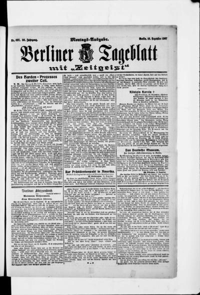 Image from object titled Berliner Tageblatt - 1907-12-16