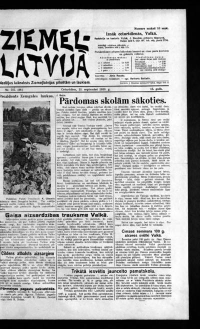 Ziemeļlatvija - 1939-09-21