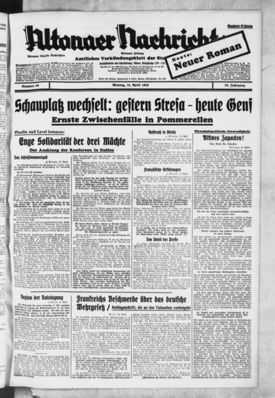 Image from object titled Altonaer Nachrichten / Hamburger neueste Zeitung - 1935-04-15