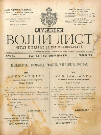 Službeni vojni list - 1899-09-04