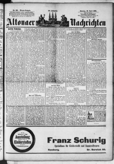 Image from object titled Altonaer Nachrichten / Hamburger neueste Zeitung - 1905-04-30