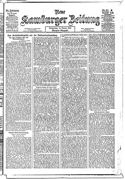 Image from object titled Neue Hamburger Zeitung - 1920-01-15