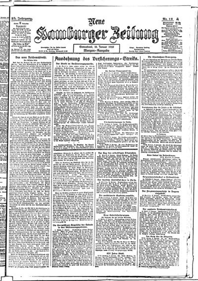 Image from object titled Neue Hamburger Zeitung - 1920-01-10