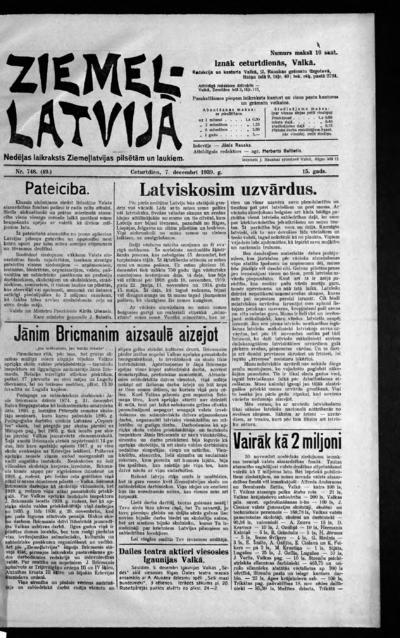 Ziemeļlatvija - 1939-12-07