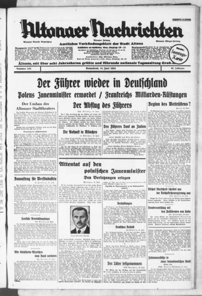 Image from object titled Altonaer Nachrichten / Hamburger neueste Zeitung - 1934-06-16