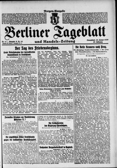 Image from object titled Berliner Tageblatt - 1920-01-10