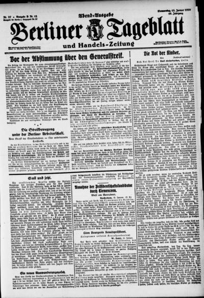 Image from object titled Berliner Tageblatt - 1920-01-15