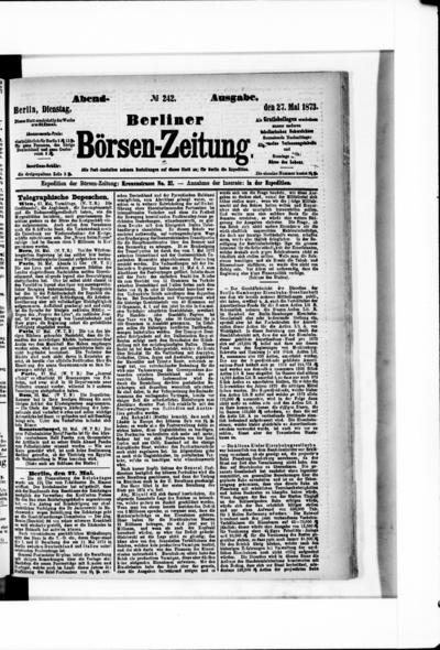Berliner Börsenzeitung - 1873-05-27