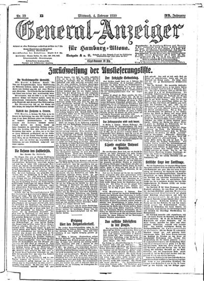Image from object titled Hamburger Anzeiger - 1920-02-04