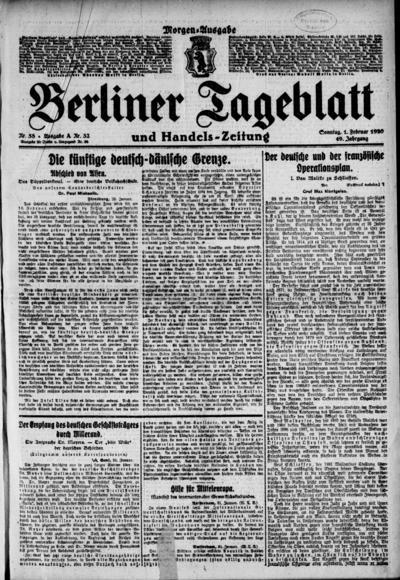 Image from object titled Berliner Tageblatt - 1920-02-01