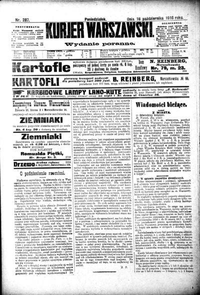 Image from object titled Kurier Warszawski - 1916-10-16