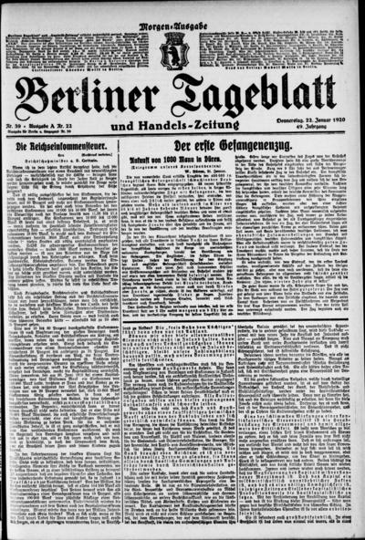Image from object titled Berliner Tageblatt - 1920-01-22