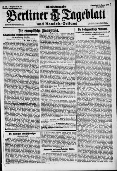 Image from object titled Berliner Tageblatt - 1920-01-31