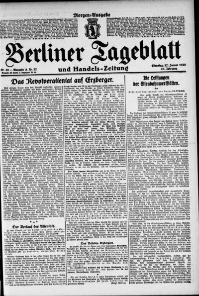 Image from object titled Berliner Tageblatt - 1920-01-27